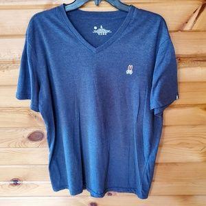 PsychoBunny Blue V Neck T Shirt